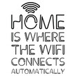 Home IS WHERE THE WIFI CONNECTS AUTOMATICALLY text sign. Vector illustration isolated on white background.