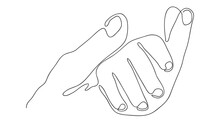 Solid Line, Mother's Hand Holding Baby's Hand. Mother's Day Concept