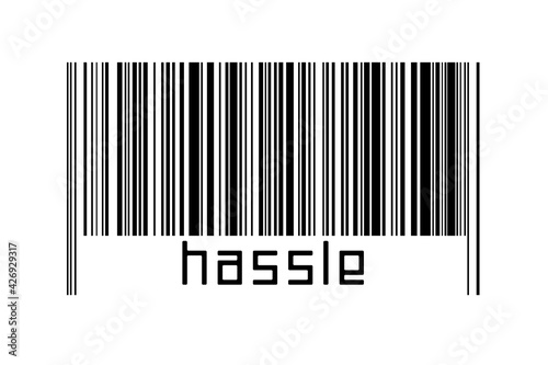Barcode on white background with inscription hassle below Fotobehang