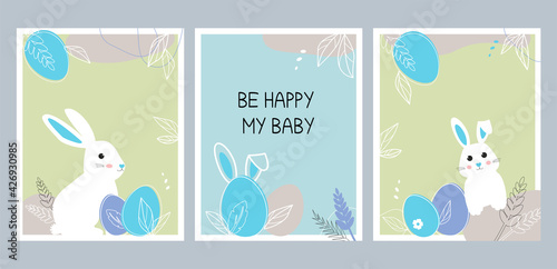 Canvas Set of posters with bunnies for a boy