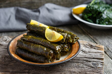 Stuffed Collard Greens With Boiled Leaves, Traditonal Turkish Black Sea Region Food, Sarma, Dolma