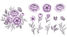 Beautiful Floral Purple Isolated Leaf And Flower Watercolor Clip-art
