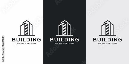 Fotografía Building logo with line art style