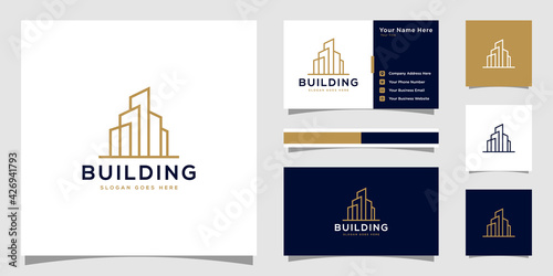 Building logo with line art style Wallpaper Mural