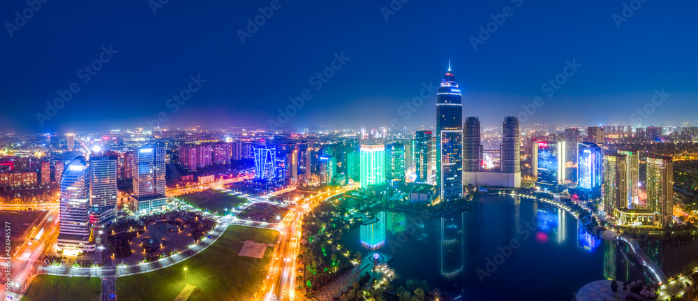 Aerial photography of the night view of Didang Lake Central Business District, Shaoxing, Zhejiang