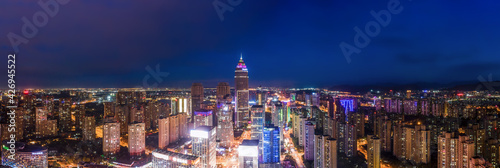 Aerial photography of the night view of Didang Lake Central Business District, Shaoxing, Zhejiang - fototapety na wymiar