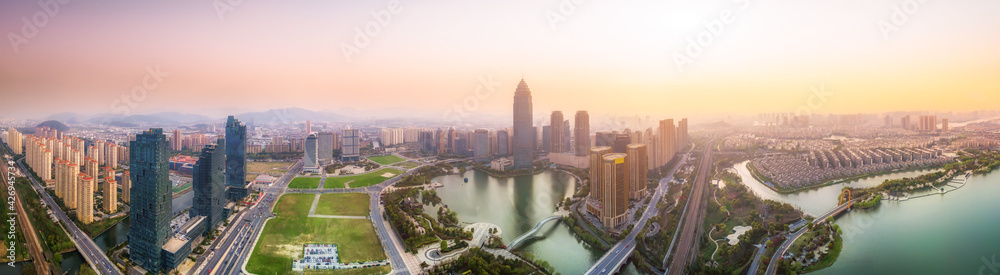 Fototapeta Aerial photography of the Didang Lake Central Business District, Shaoxing, Zhejiang