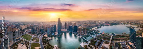 Fototapeta Aerial photography of the Didang Lake Central Business District, Shaoxing, Zhejiang obraz