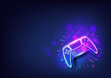 Neon Game Controller Or Joystick For Game Console On Blue Background.