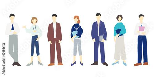 Fototapeta ビジネスマンとビジネスウーマンの全身イラスト Workers, business, jobs, vector