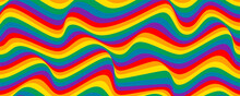 Colorful Wavy Lines. Rainbow Colors. Stripe Pattern. Vector Illustration