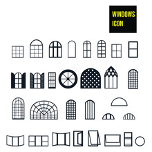 Windows Icon - Stock Illustration. Different Windows: Modern, Old, With Shutters, Opened, Prison Cell Windows, Etc.