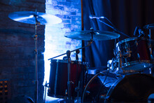 Drum Set And Cymbal On A Stage In Blue Light