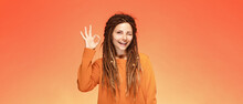 Funny Happy Young Woman With Authentic Hairstyle And Ok Gesture