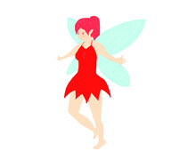 Red Fairy Character Design Illustration