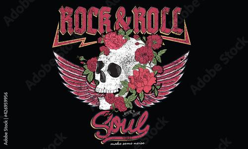 Vászonkép Rock and roll soul skull vector design for t-shirt