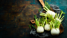 Vegan Food. Raw Fresh Fennel Bulbs, Ready To Cook. Healthy Food. Top View. Free Space For Your Text.