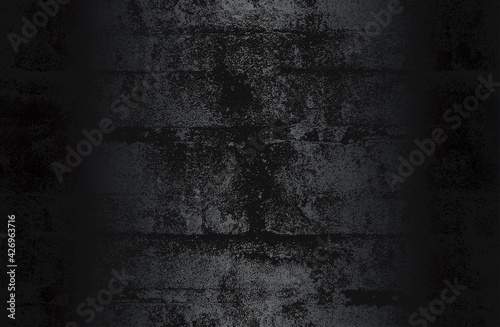 Fototapeta Luxury black metal gradient background with distressed cracked concrete texture. obraz