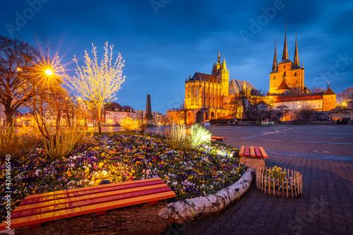 Canvas Frühling in der Hauptstadt Erfurt am Abend - Thüringen