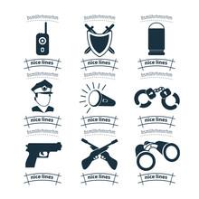 Weapon Icon Set With Police, Pistol, Gun. Binoculars. Shield, Bomb, Hand Grenade, Handcuffs