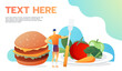 Useful and useless food. Man decide to eat. Vector flat illustration