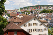 The Tiled Roofs Of Zurich's Old Town. Switzerland