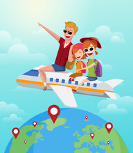 Summer Journey, Travel Concept. Happy Family Rides On Plane On Vacation. Cartoon Vector Illustration