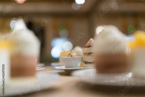 Valokuva catering food, dessert and sweet, mini canapes, snacks and appetizers, food for