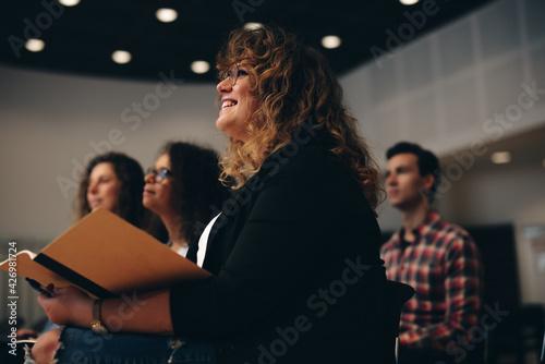 Tela Businesswoman attending a corporate workshop