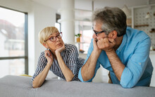 Handsome Senior Man And Attractive Old Woman Are Having Relationship Problems