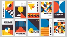 Bauhaus Forms. Square Tiles With Modern Geometric Patterns With Abstract Figures And Shapes. Contemporary Graphic Bauhaus Design Vector Set. Circle, Triangle And Square Lines Art