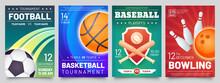 Sport Games Flyer. Basketball, Baseball, Football Match And Bowling Tournament Posters. Soccer, Ball Game Event Banner Templates Vector Set
