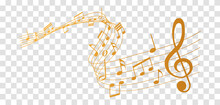 Vector Sheet Music - Gold Musical Notes Melody On Transparent Background
