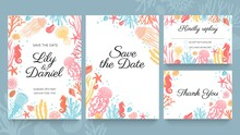 Sea Wedding Cards. Invitation To Summer Beach Marriage Party Decorated With Ocean Seashell, Seaweed And Coral. Wedding Save Date Vector Set