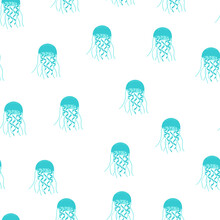 Seamless Pattern On White Background With Blue Jellyfish