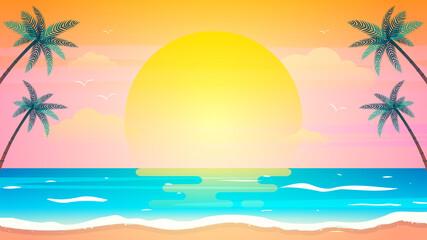 Sunset on summer beach background vector illustration