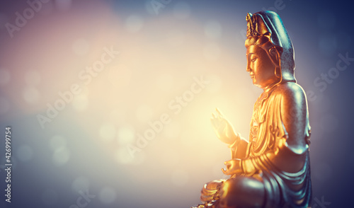 Fototapeta Buddha statue, zen meditation in yoga obraz