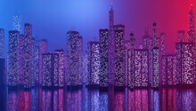 Future City Downtown With Skyscrapers In Neon Cyberpunk Lights