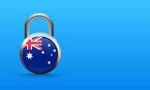 Australian Flag On Padlock Isolated On Blue Background, Coronavirus Lockdown Concept. Covid-19 Vector Illustration.