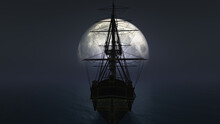Old Ship In Sea Full Moon Illustration