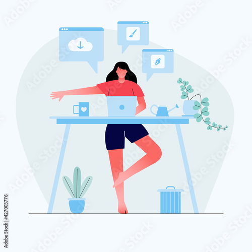Fotografía Businesswoman doing yoga to calm down the stressful emotion from hard work in home backside desk with business process icons on background