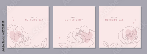 Vászonkép Happy Mother's Day vector greeting cards set with beautiful flowers and hearts