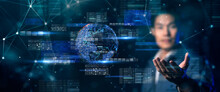 Asian Engineer Hand On Futuristic Digital Smart World, Factory Industry And Innovation Digital Technology Artificial Intelligence Cloud Data Idea