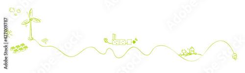 Fototapeta Grüner Wasserstoff Erneuerbare Energie Grün Strom Band Banner obraz