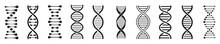 Dna Icon Set, Dna Helix, Chromosome, Molecule Symbol, Vector Illustration.