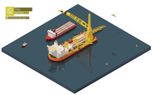 Vector Isometric Pipe Laying Vessel. Pipe Lay Ship Building Subsea Oil Or Gas Pipeline. Big Crane Unloading Barge With Pipes