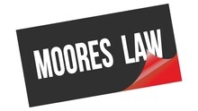 MOORES  LAW Text On Black Red Sticker Stamp.