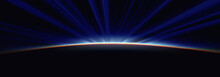 Sunrise From Space Aurora, 3d Rendering