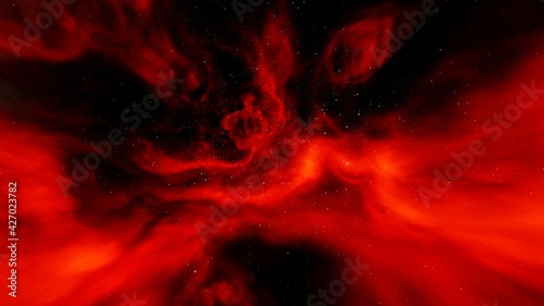 red-violet nebula in outer space, horsehead nebula, unusual colorful nebula in a distant galaxy, red nebula 3d render	 - fototapety na wymiar