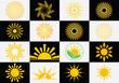 Sun logotype collection. Abstract sun icon logo template design.